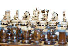 Chess board focus to white king and queen Stock Photography