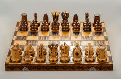 Chess board focus to white king and queen Royalty Free Stock Photos