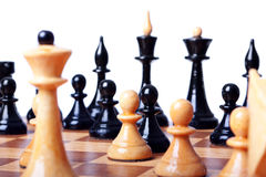 Chess board focused closeup Royalty Free Stock Photography