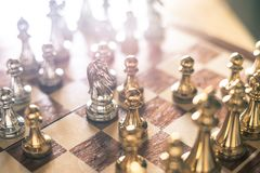 Chess board game, business competitive concept. Copy space, advantage, boss, competition, confront, disadvantage, down, encounter, enemy, fight, finance, king stock photo