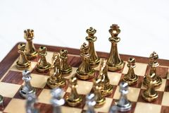 Chess board game, business competitive concept. Copy space, advantage, boss, competition, confront, disadvantage, down, encounter, enemy, fight, finance, king stock images