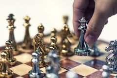 Chess board game, business competitive concept royalty free stock photo