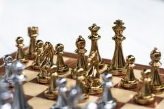Chess board game, business competitive concept royalty free stock images