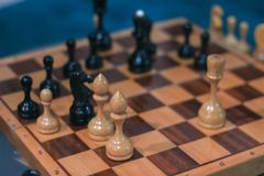 Chess board game competition business concept with blur image. Background Stock Photo