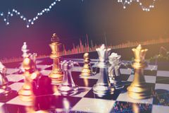 Chess board game concept of business ideas and competition and strategy plan success meaning, Stock financial statistic graph. Analysis data concept Stock Photography