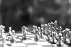 Chess board game. Fighting in black and white. Business competitive and strategy planning concept. Copy space royalty free stock photo