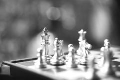 Chess board game. Fighting in black and white. Business competitive and strategy planning concept stock photo