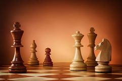 Chess board game for ideas and competition and strategy, business success concept. Chess background Royalty Free Stock Photos