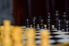 Chess board game for ideas and competition and strategy Soft focus on a wooden table stock photos