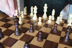 Chess board game, pawn& x27;s move to take advantage. Business planning and strategy concept stock photography