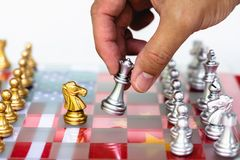Chess board game pieces on USA and China flag background, trade war tension situation concept. Copy space, group, success, teamwork, trapped, surrounding stock photography
