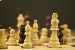 Chess board with game in play Royalty Free Stock Photography