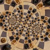 Abstract wooden chess desk white black figures mix spiral effect. Chess wooden board abstract spiral fractal Surreal chess board f. Chess board with Gimp math vector illustration
