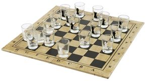 Chess-board with Glass Chess-men;. Chess-board Kit with wineglasses on a white background stock photography