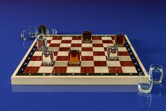 Chess Board with glasses of alcoholic beverages, instead of checkers. On a blue background. Alcoholic drinks in shot glasses as royalty free stock image