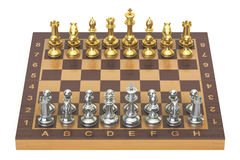 Chess board with gold and silver figures, top view. 3D rendering. Chess board with gold and silver figures, top view. 3D Royalty Free Stock Photography