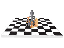 Chess board with king, knight, rook and pawn Stock Photos