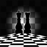 Chess Board with King & Queen. Nicely designed with chess square background Stock Photo