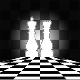 Chess Board with King & Queen Royalty Free Stock Photos
