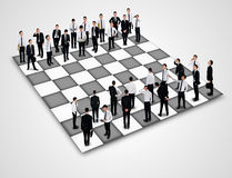 Chess board. With many business people Royalty Free Stock Image