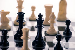 Chess board. With men in position for game Royalty Free Stock Photos