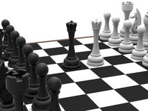 Chess board middle duel Stock Photos