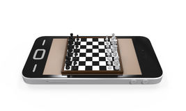 Chess Board in Mobile Phone Royalty Free Stock Photos
