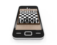 Chess Board in Mobile Phone Royalty Free Stock Image