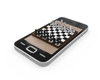 Chess Board in Mobile Phone Royalty Free Stock Images