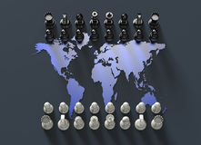 Chess board out of the world map with chess play Royalty Free Stock Images