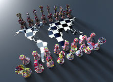 Chess board out of the world map with chess play Stock Photos