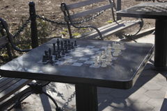 Chess board, outdoors in the park Stock Photos