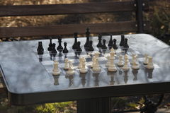 Chess board, outdoors, washington square park Stock Images