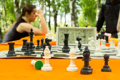 Chess board. And chess pieces Stock Photography