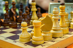 Chess board. And chess pieces Stock Images