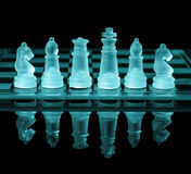 Chess Board. Chess pieces on check board with reflection and blue tone Stock Photos