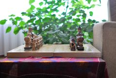 Chess Board and pieces in Oriental style royalty free stock image