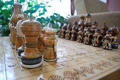 Chess Board and pieces in Oriental style royalty free stock photography