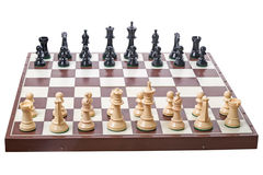 Chess board and pieces on white Royalty Free Stock Photo