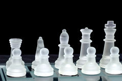 Chess board ranks. Chess set up in ranks from rook to king Royalty Free Stock Image