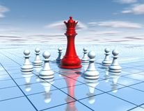 Chess board with red chess queen and team of white pawns, blue sky and floor, teamwor abstract idea Royalty Free Stock Images