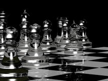 Chess Board Render In Black & White. 3D render of a chess board with pieces Stock Photo