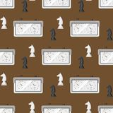 Chess board seamless pattern background chessmen leisure concept knight group white and black piece competition vector Stock Photos