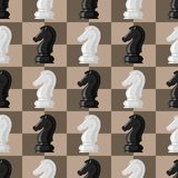 Chess board seamless pattern background chessmen vector leisure concept knight group white and black piece competition. Chess board and chessmen vector leisure Royalty Free Stock Image