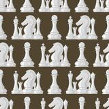 Chess board seamless pattern background chessmen vector leisure concept knight group white and black piece competition. Chess board and chessmen vector leisure Stock Images