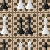 Chess board seamless pattern background chessmen vector leisure concept knight group white and black piece competition. Chess board and chessmen vector leisure Royalty Free Stock Photos