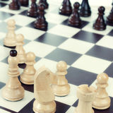 A chess board set up ready for a game. Close up photo royalty free stock photography