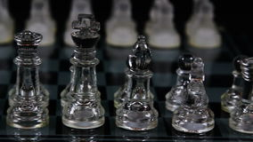 Chess Board Set Up In Starting Posistion With Camera Focused On Near Pieces stock video