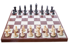Chess board set up to begin a game stock photography