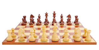 Chess board set up to begin a game. Isolated on white background Royalty Free Stock Photos